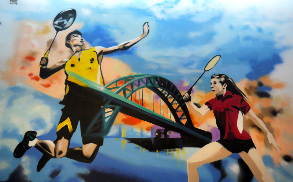 Tyneside Badminton Centre Artwork, players above the Tyne bridge